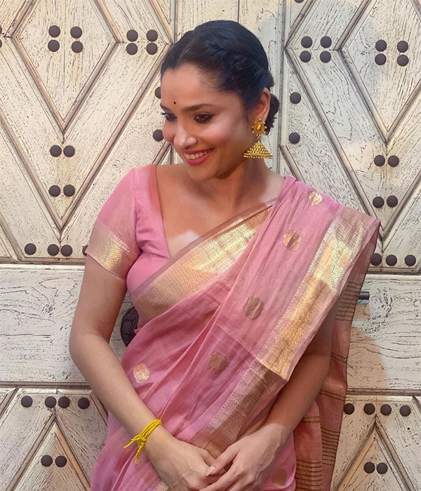 In pics: Ankita Lokhande stuns in traditional pink saree