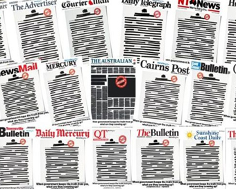 Aussie media self-censors to protest govt, secrecy laws