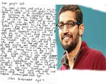 Kid wants job with Google, Pichai encourages her