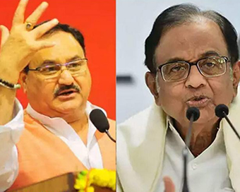 Nadda hits out at Chidambaram and Rahul for playing dirty