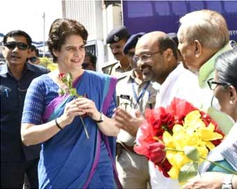 Priyanka Gandhi arrives in UP for three-day visit
