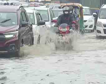 IN PICS | Heavy rainfall lashes Delhi as IMD issues orange alert, waterlogged streets seen across NCR
