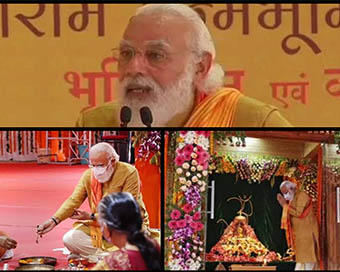 PM Modi peforms 'Bhumi Pujan' at Ayodhya