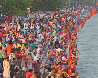 Haridwar Kumbh Mela 2021: Over 2 million pilgrims take holy dip; social distancing goes for a toss (PICS)